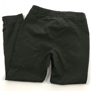 Style & Co dark green pants w/ lace up ankle trim